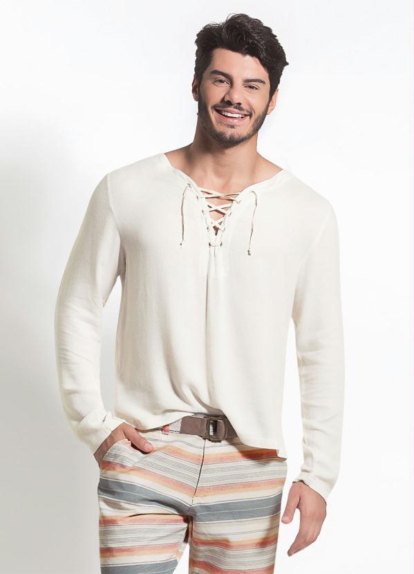 Camisa Masculina Gola Em V com Detalhe de Amarração Bege