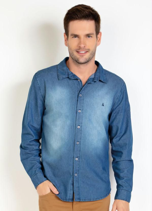 Camisa Masculina  Jeans Manga Longa Com Spray