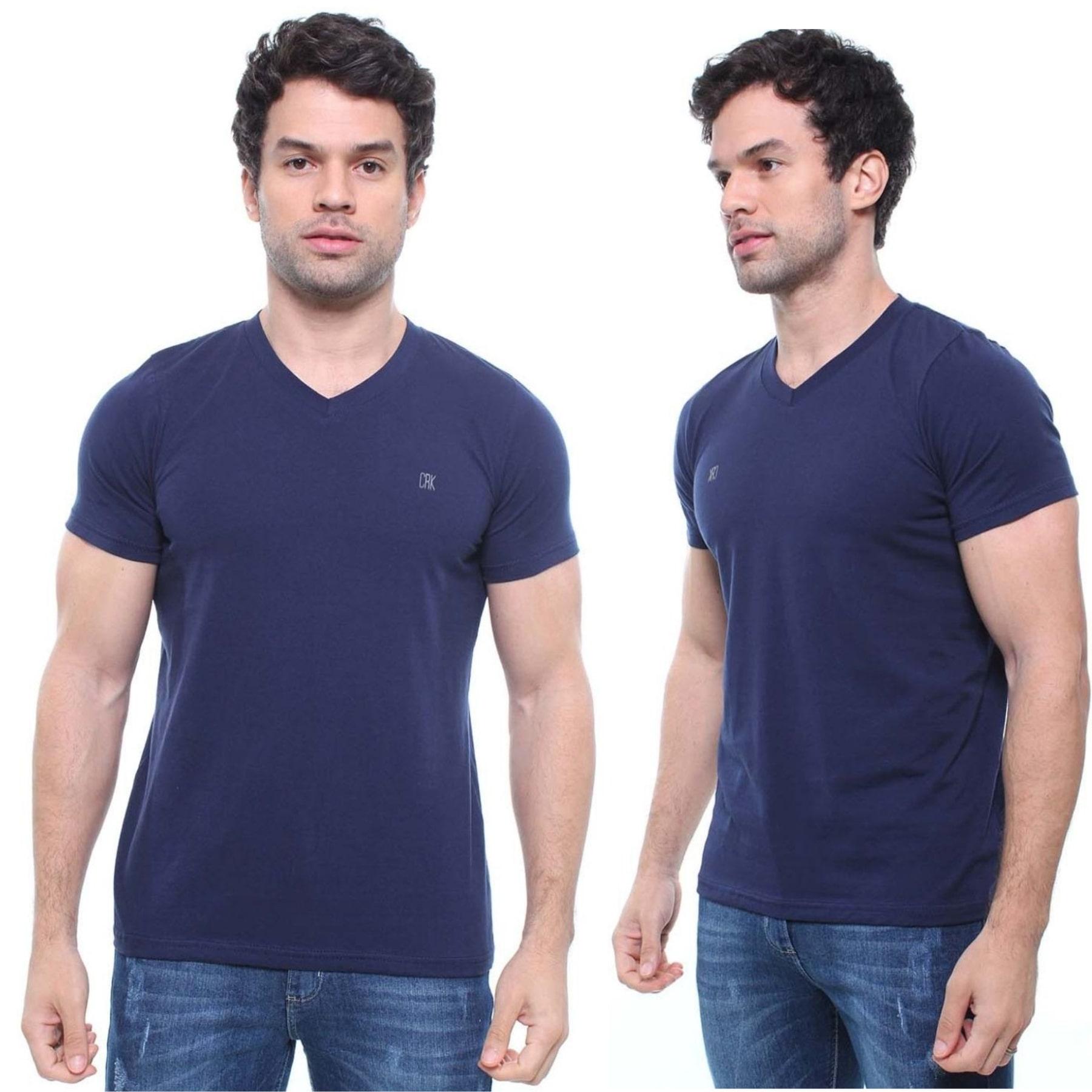 Camiseta Masculina Com Bordado Boy Look Cor Marinho Noite
