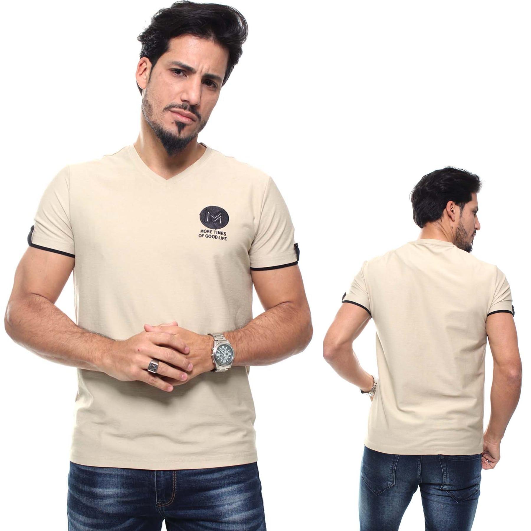Camiseta Masculina Detalhada Crocker Cor Kaqui