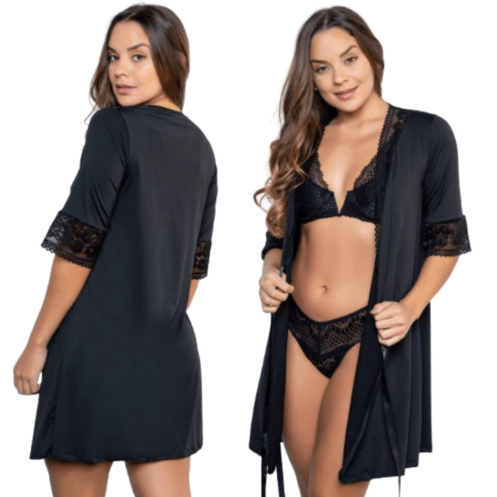 Camisola Robe Detalhado Em Renda Premium Preto