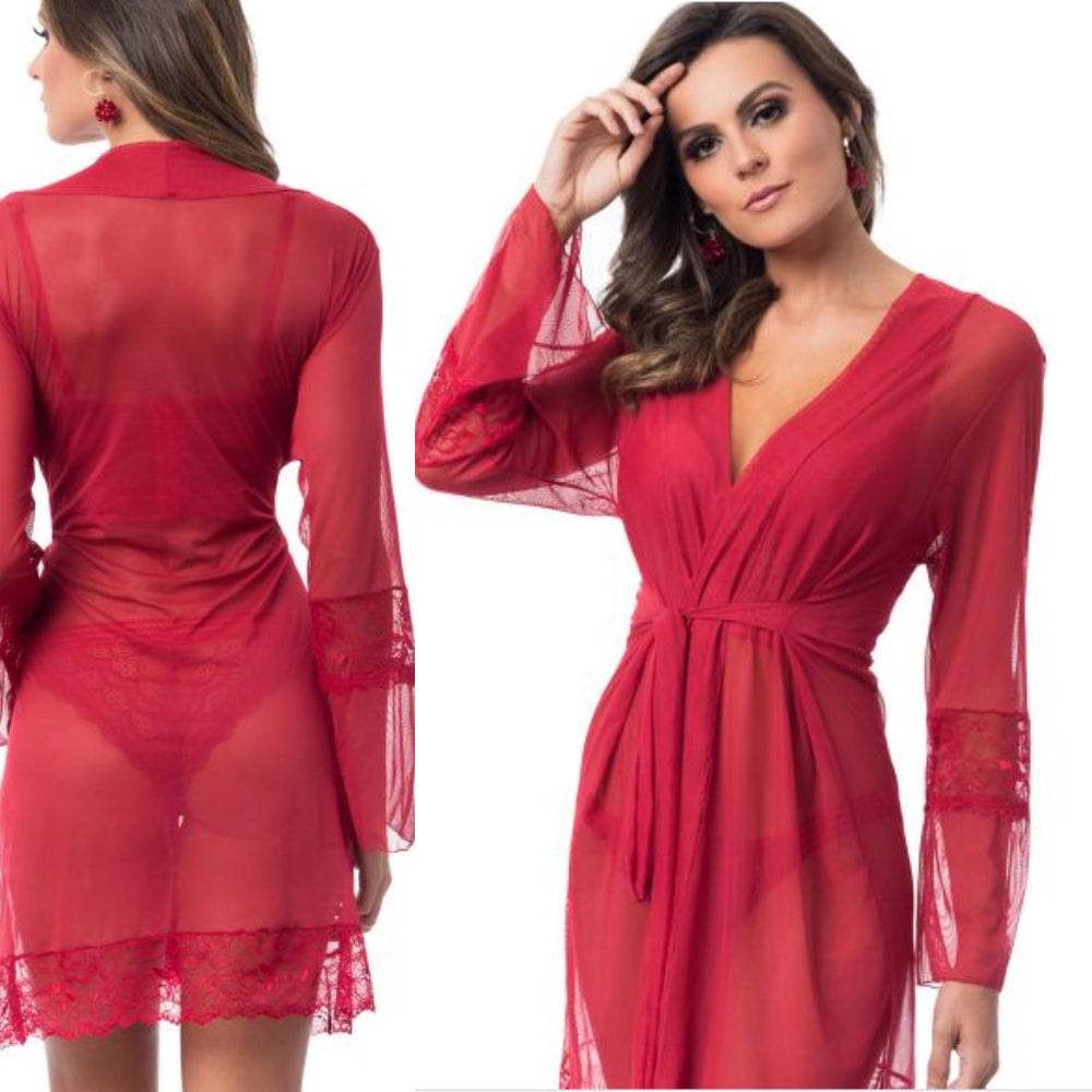 Camisola Robe Luxo Tule Com Renda Trabalhada Vermelho