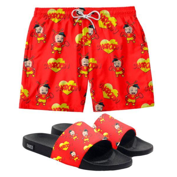 Conjunto Lazer Shorts Em Tactel e chinelo Slide Estampa Chapolin