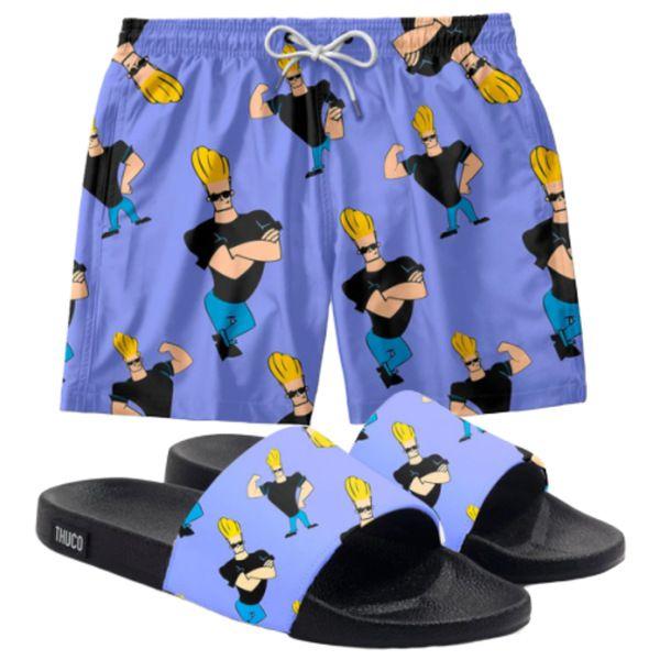 Conjunto Lazer Shorts Em Tactel e chinelo Slide Estampa Johnny Bravo
