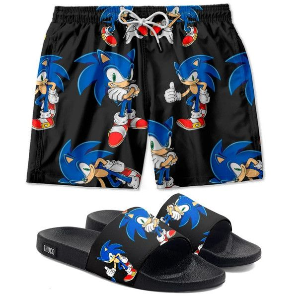 Conjunto Lazer Shorts Em Tactel e chinelo Slide Estampa Sonic