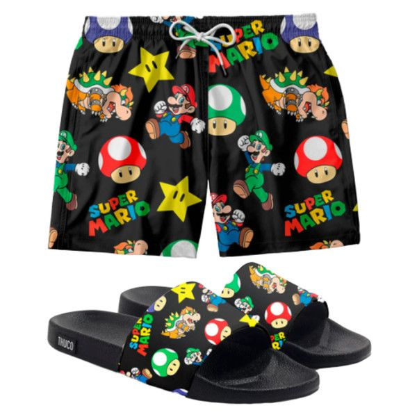 Conjunto Lazer Shorts Em Tactel e chinelo Slide Estampa Super Mario