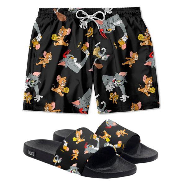 Conjunto Lazer Shorts Em Tactel e chinelo Slide Estampa Tom e Jerry