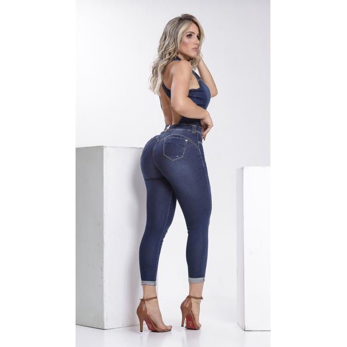 Macacão Jeans Escuro Feminino Rhero Jeans 56171
