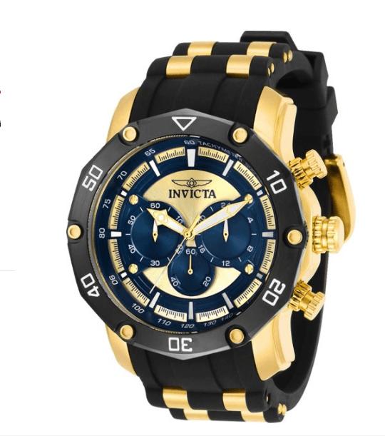 Invicta Pro Diver Relógio Masculino Cronógrafo Tom Dourado Mostrador Azul Modelo 30079