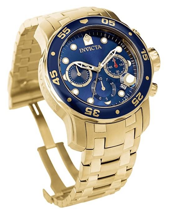 Invicta Pro Diver Scuba Relógio masculino 48 mm tom ouro em aço inoxidável  azul modelo: 0073