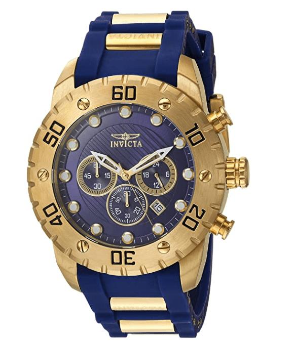 Invicta Pro Diver Scuba Relógio Masculino 50mm Ouro  Aço Inoxidável e Poliuretano Azul Modelo 20280