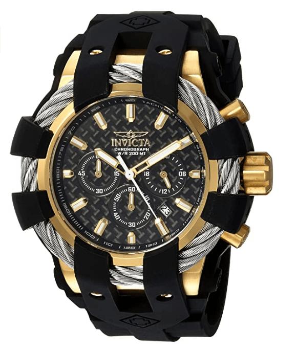 Invicta Relógio masculino Bolt 48 mm em aço inoxidável e silicone cronógrafo quartzo, preto modelo: 23860