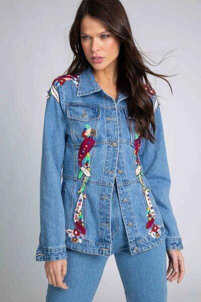 Jaqueta Jeans Feminina Acint/Nathaly Bordada True Jeans