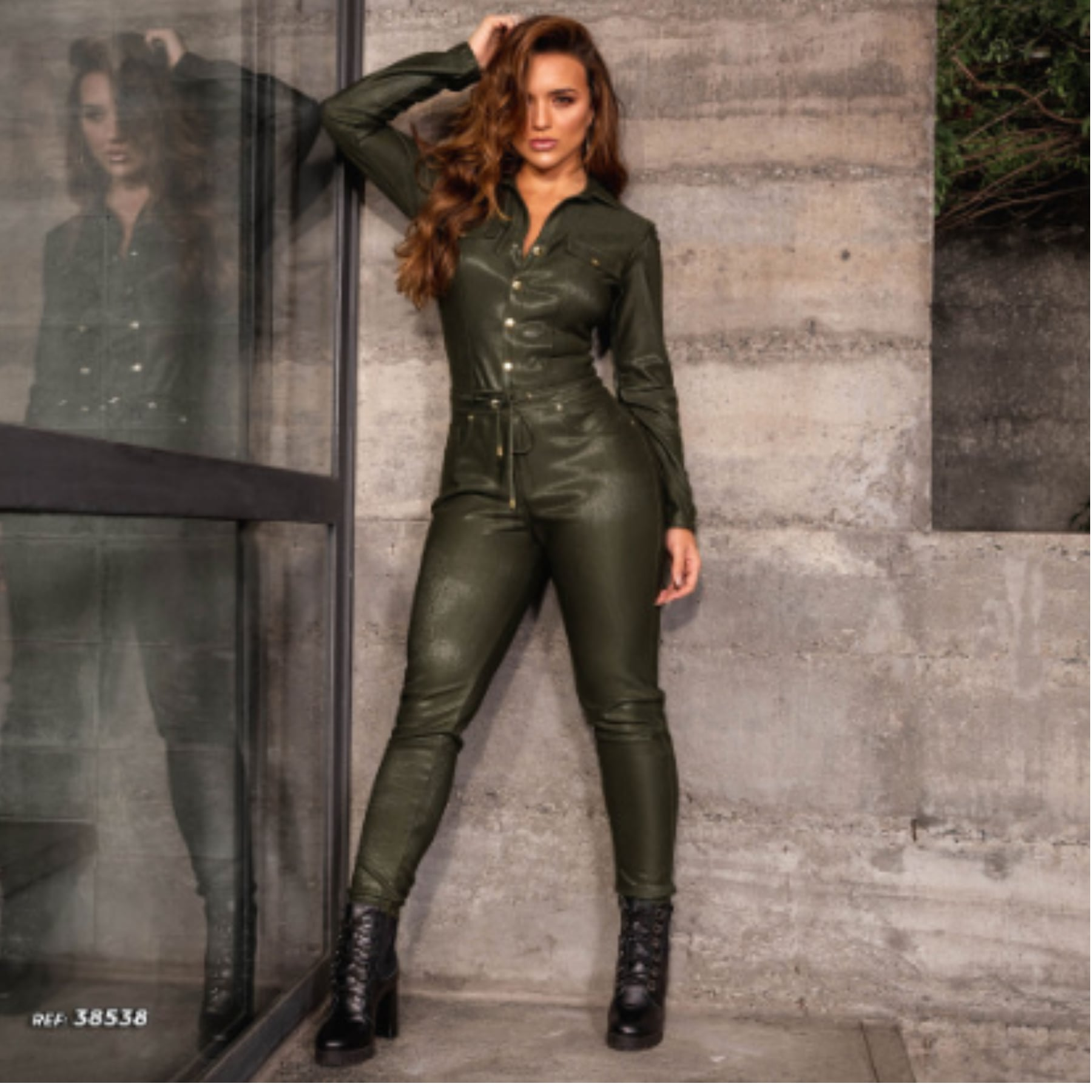 Macacão Jeans Feminino Longo Verde Militar Pit Bull Jeans