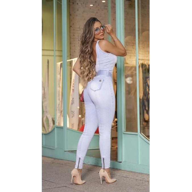 Macacão Jeans Feminino Modelador Claro Rhero Jeans 03650