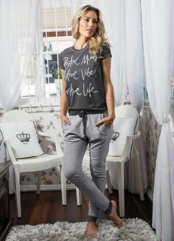 Pijama Feminino Conjunto Calça e Blusa Com 2 Peças Cinza