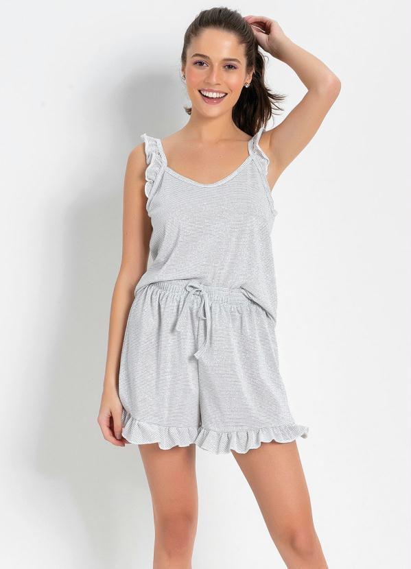 Pijama Feminino Conjunto Curto com Blusa de Alças e Shorts Com Babado