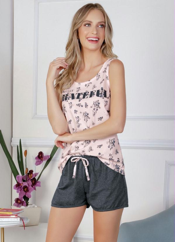 Pijama Feminino Conjunto Curto com Blusa de Alças Floral Rosa e e Cinza
