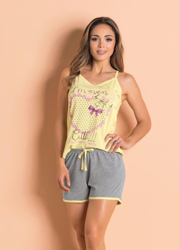 Pijama Feminino Conjunto Curto com Blusa de Alcinhas Amarelo e Cinza