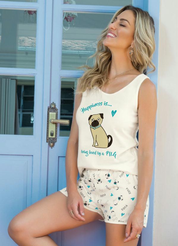 Pijama Feminino Estampado Dog Curto Bege e Estampado