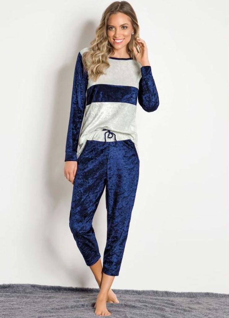 Pijama Feminino Manga Longa Aveludado Calça e Blusa Azul Veludo