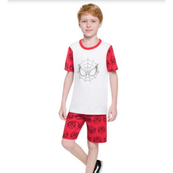 Pijama Infantil Masculino Conjunto Camiseta e Shorts  Metalizado Homem Aranha