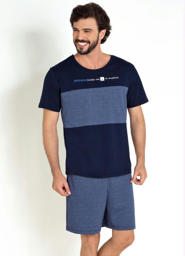 Pijama Masculino Manga Curta Marinho