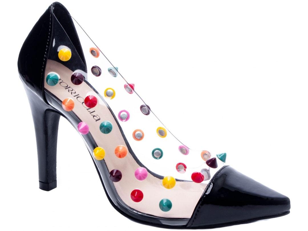 Sapato Feminino Scarpin Detalhado Color Verniz Preto