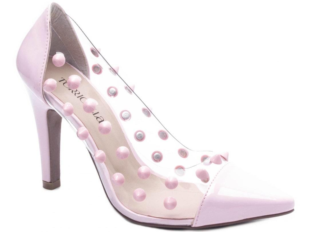 Sapato Feminino Scarpin Detalhado Color Verniz Rosa