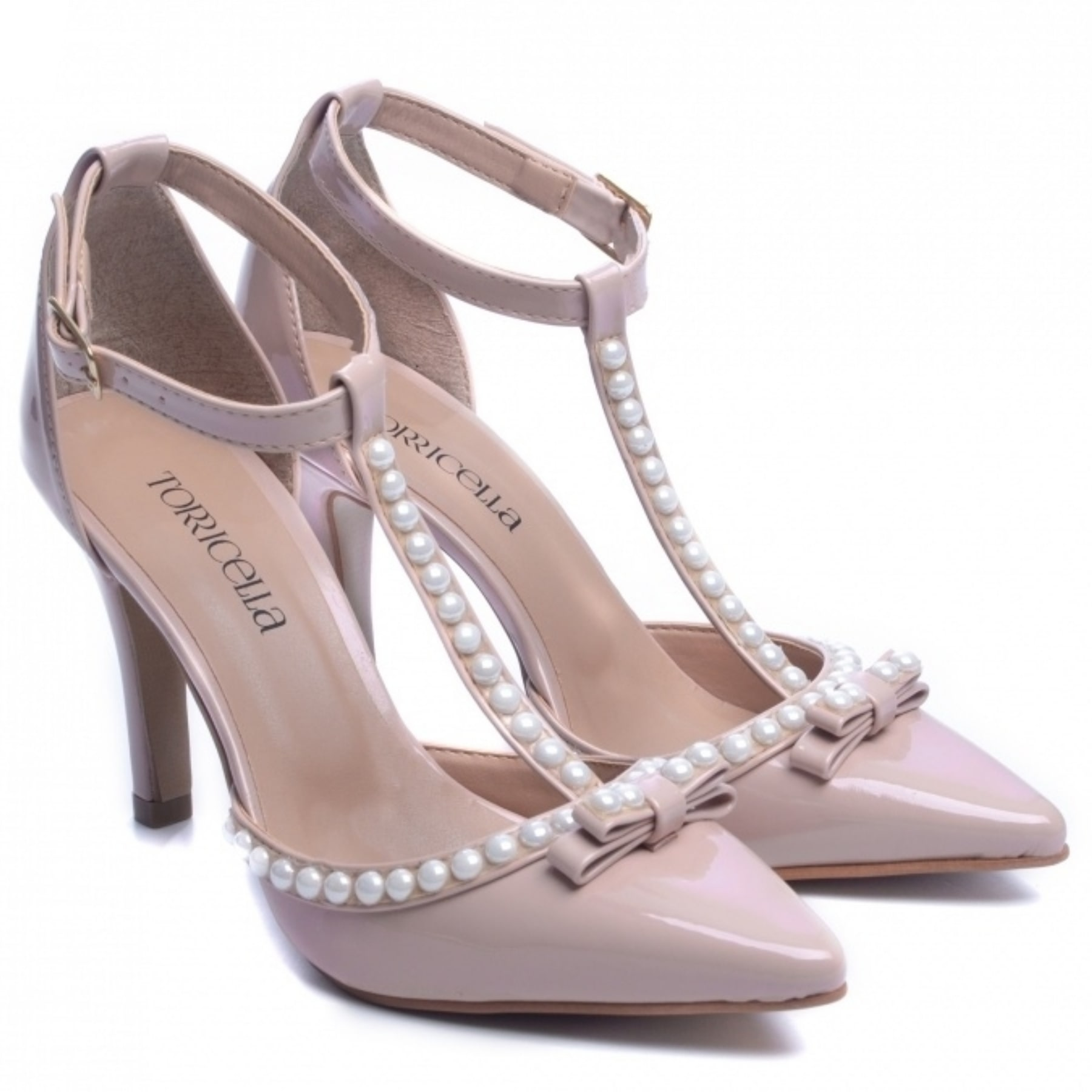 Sapato Feminino Scarpin Detalhes Em Perola Cor Rose