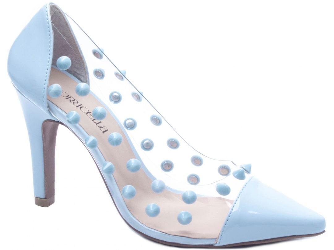 Sapato Feminino Scarpin Verniz Azul