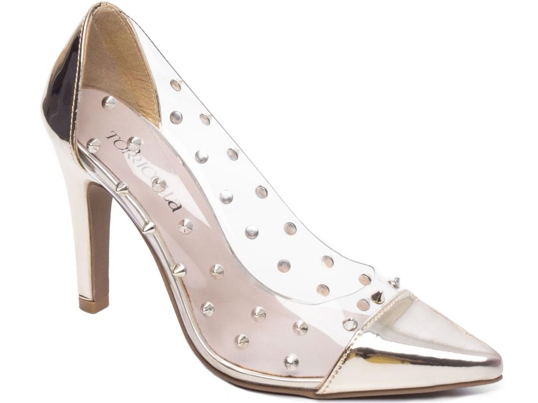 Sapato Feminino Scarpin Verniz Metalizado Specchio Dourado
