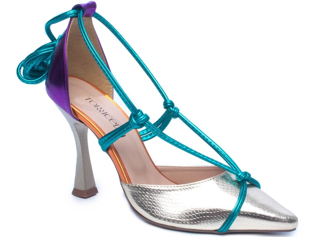 Sapato Scarpin Em Croco Metalizado