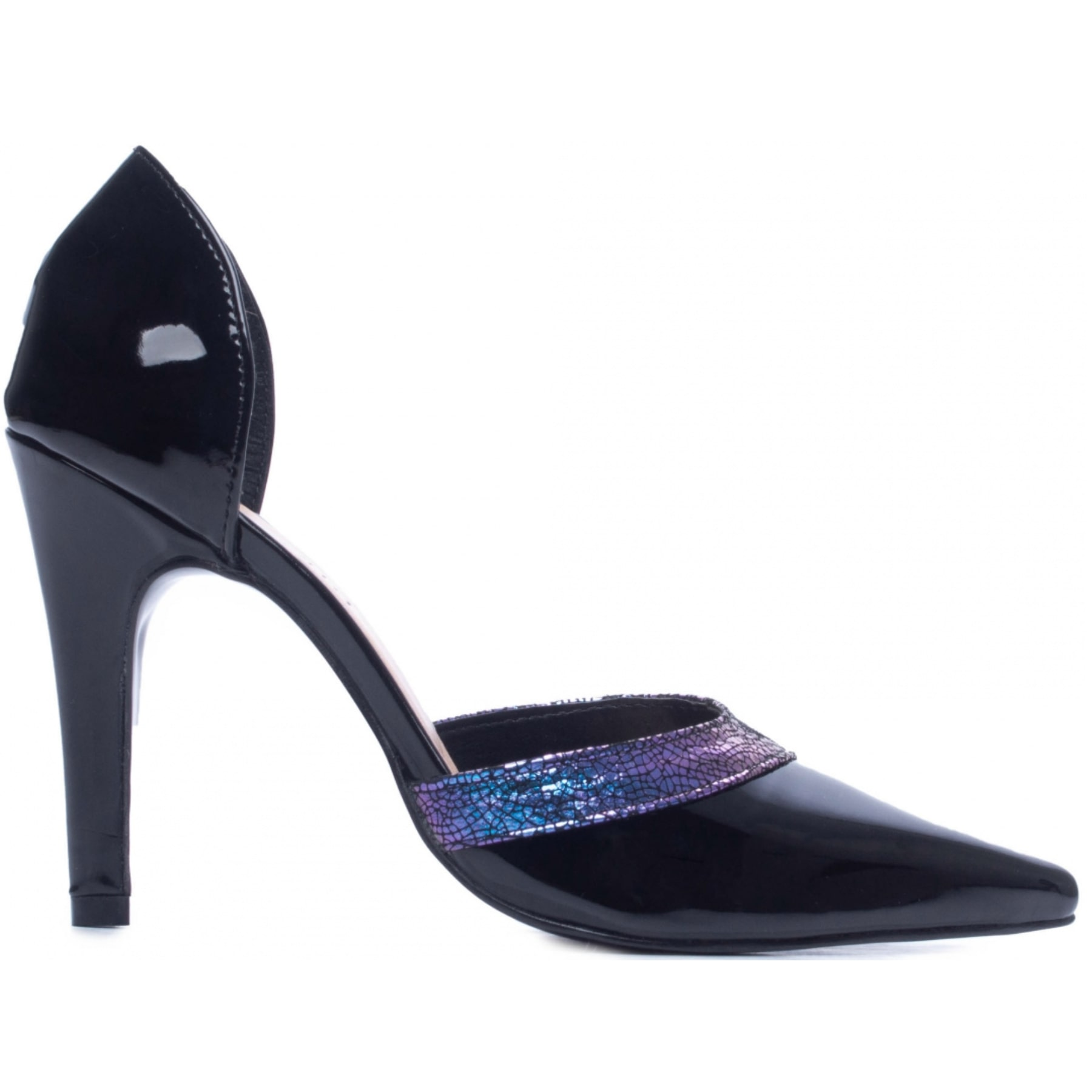 Scarpin Verniz Couro Tons Roxos Sapatos Scarpin Preto