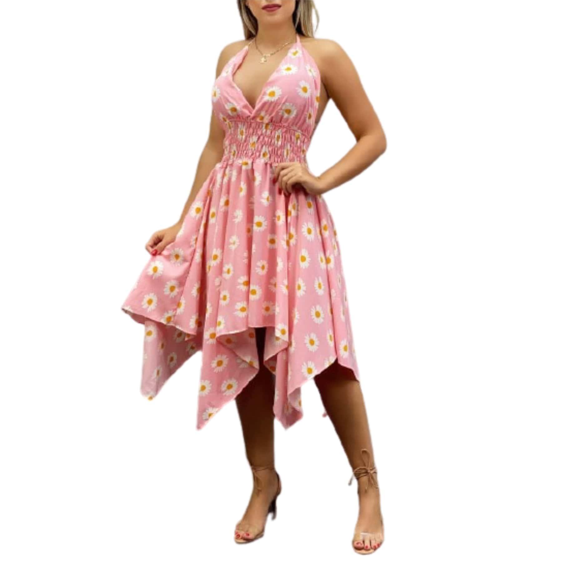 Vestido assimétrico estampa margarida