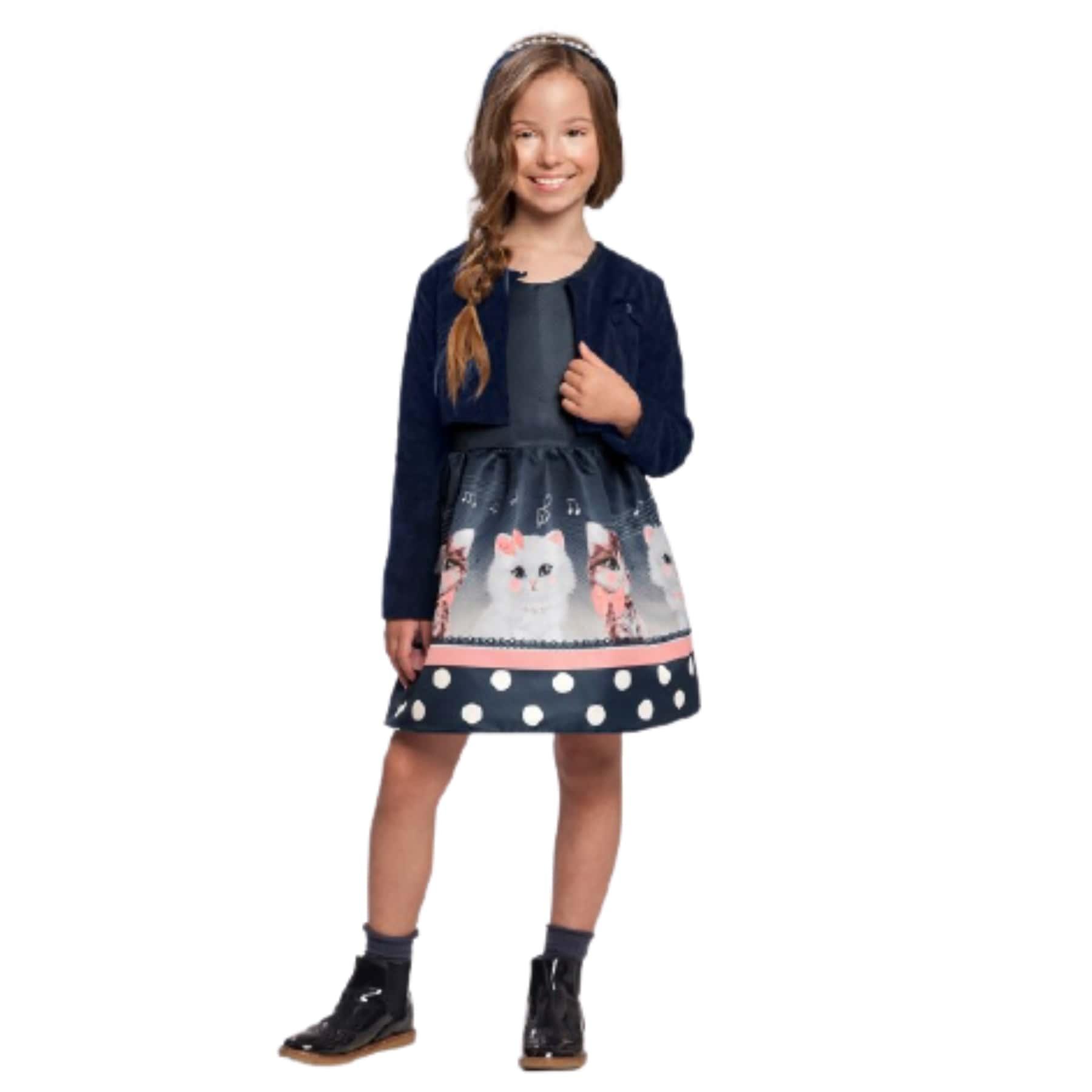 Vestido c/ Casaco Infantil Menina Gatinhos Marinho