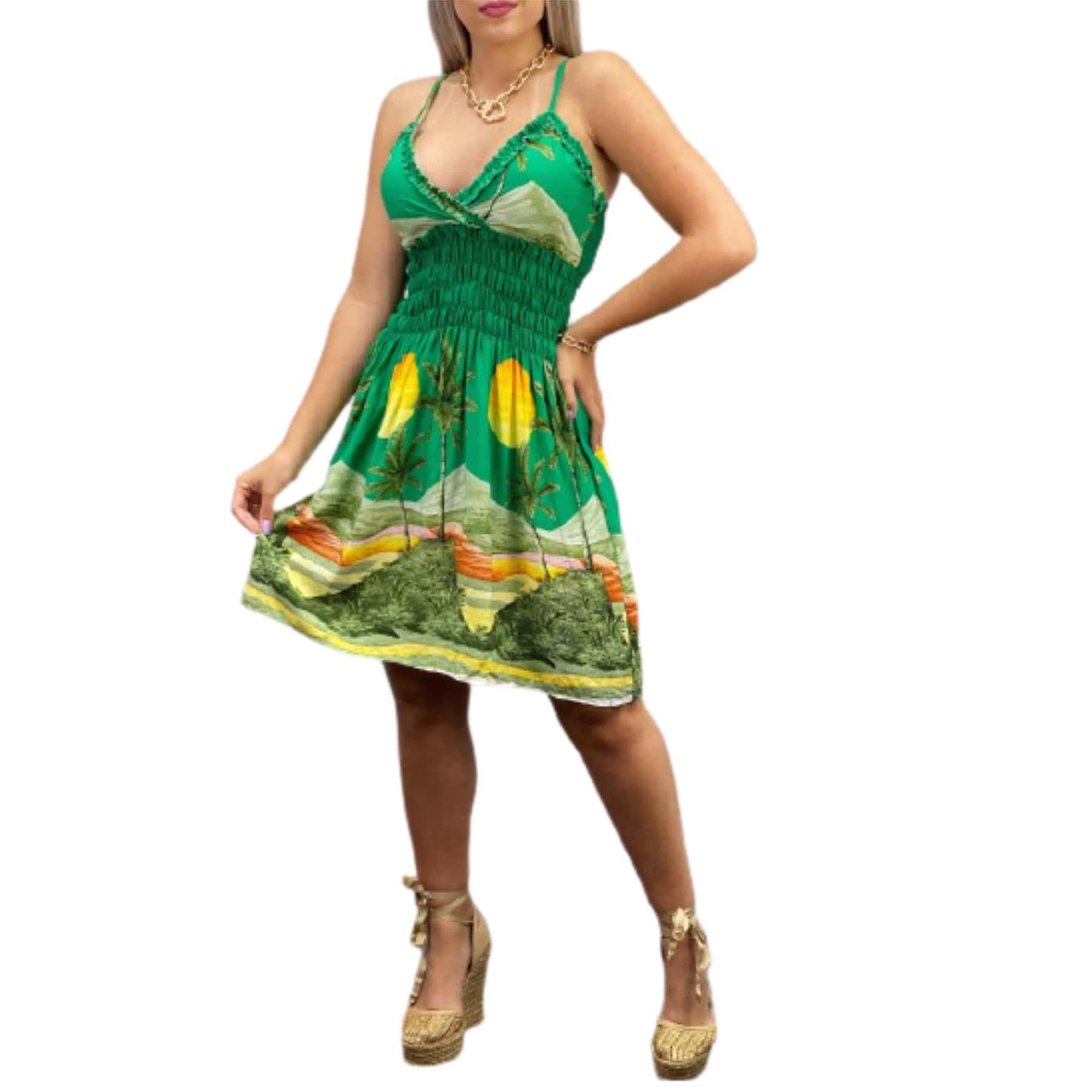 Vestido de alça em lastex estampado