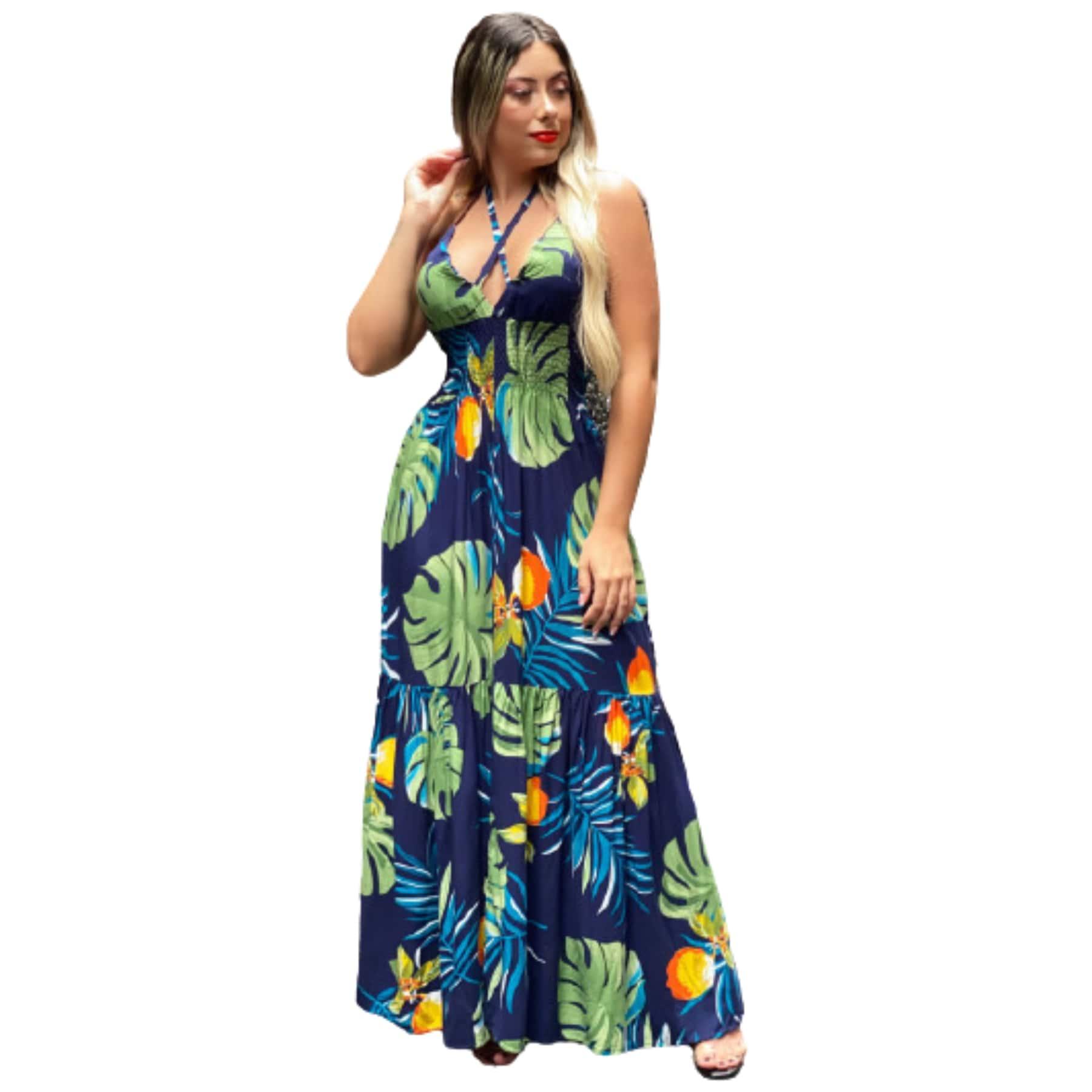 Vestido longo com estampado Azul marinho