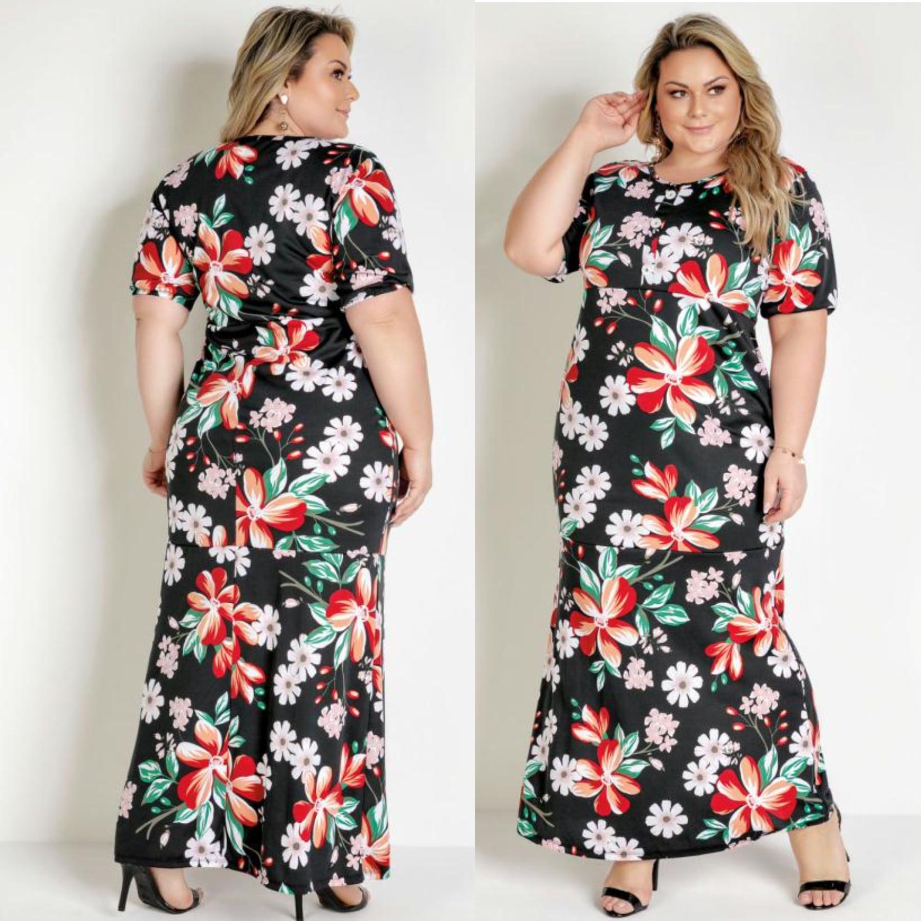 Vestido Longo Floral Preto com Botões Plus Size