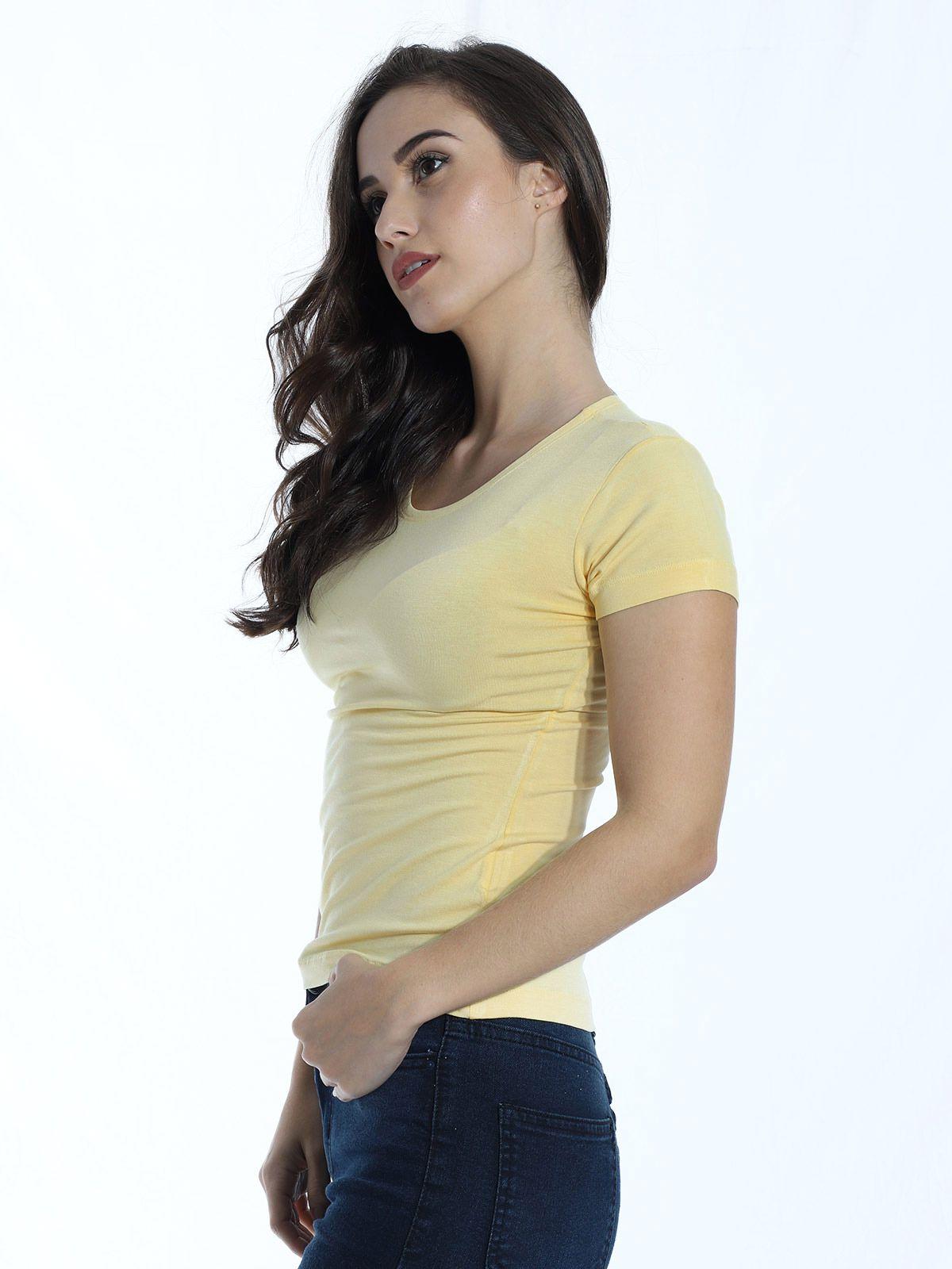 Baby Look Anistia de Viscolycra Básica Amarelo