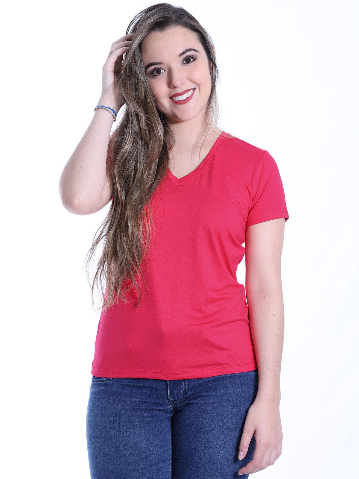 Baby Look Anistia Decote V. Viscolycra Lisa Pink