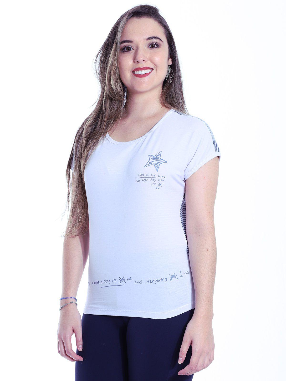Baby Look Anistia Viscolycra Costas Devorê Branco