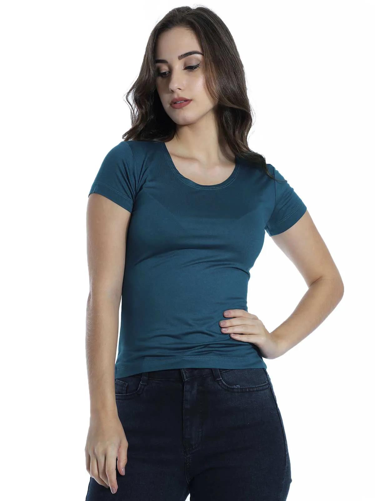 Baby Look Feminina Básica Lisa Viscolycra Decote Redondo Azul Jeans