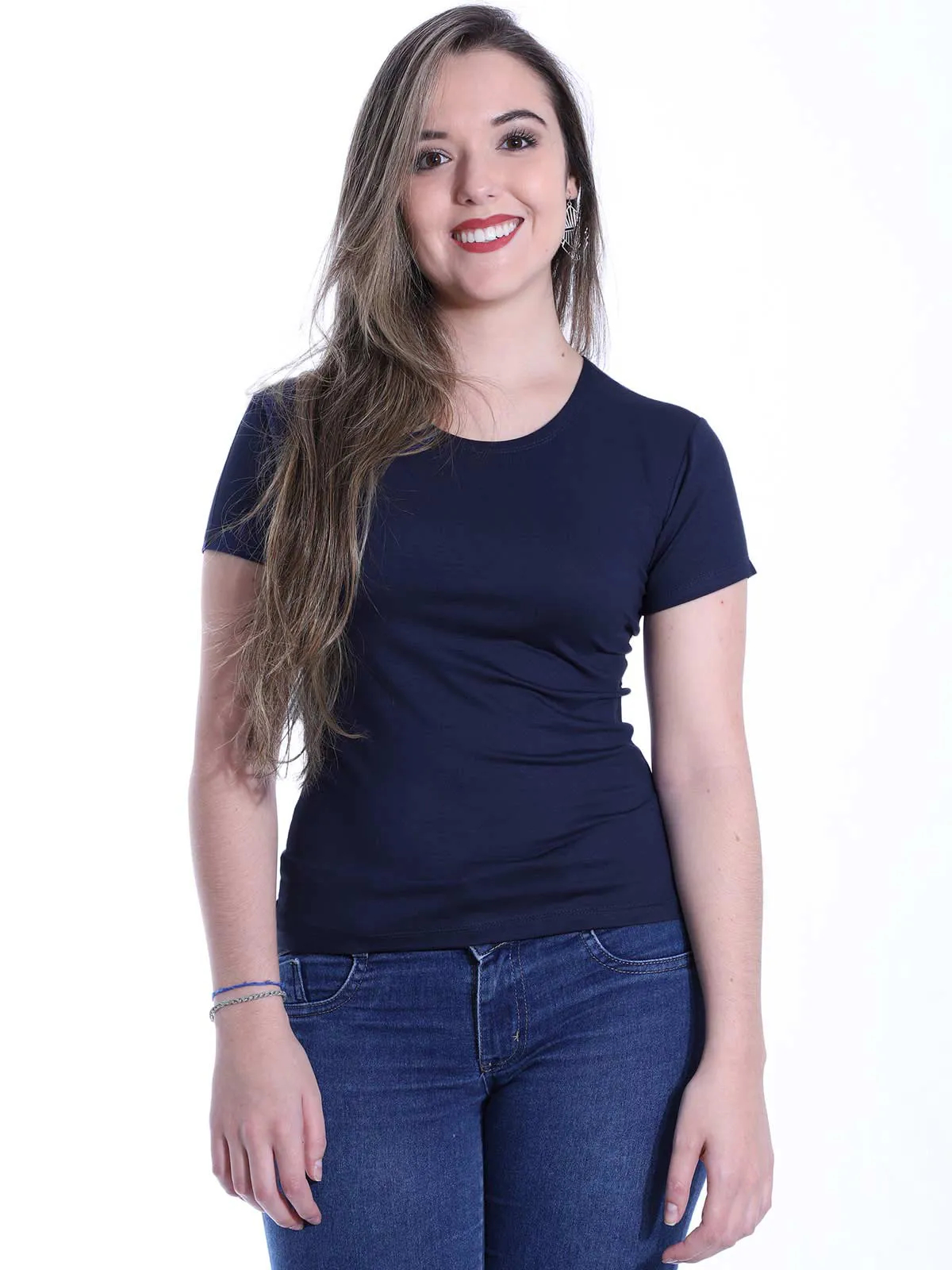 Baby Look Feminina Básica Lisa Viscolycra Decote Redondo Azul Marinho