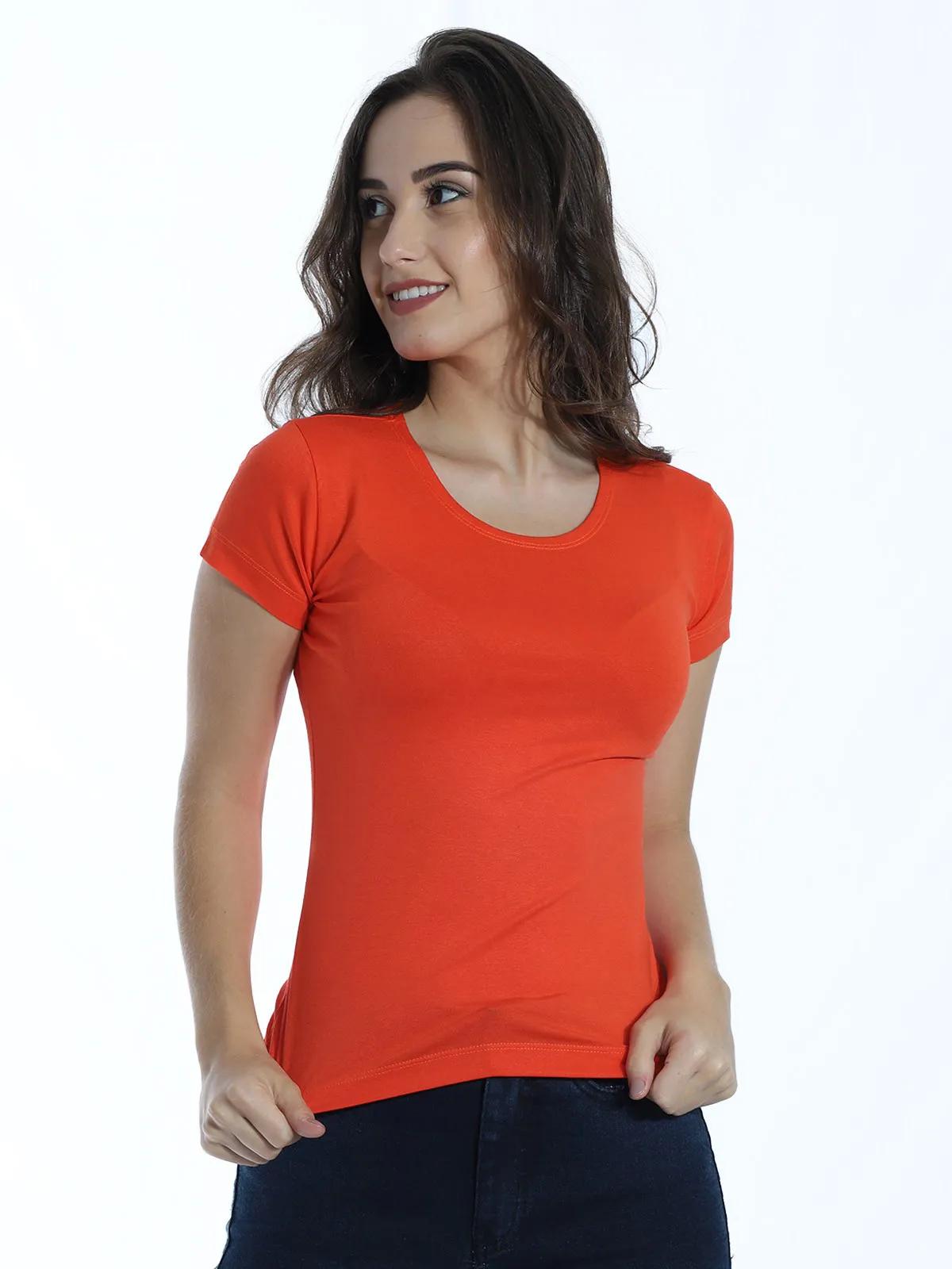 Baby Look Feminina Básica Lisa Viscolycra Decote Redondo Laranja