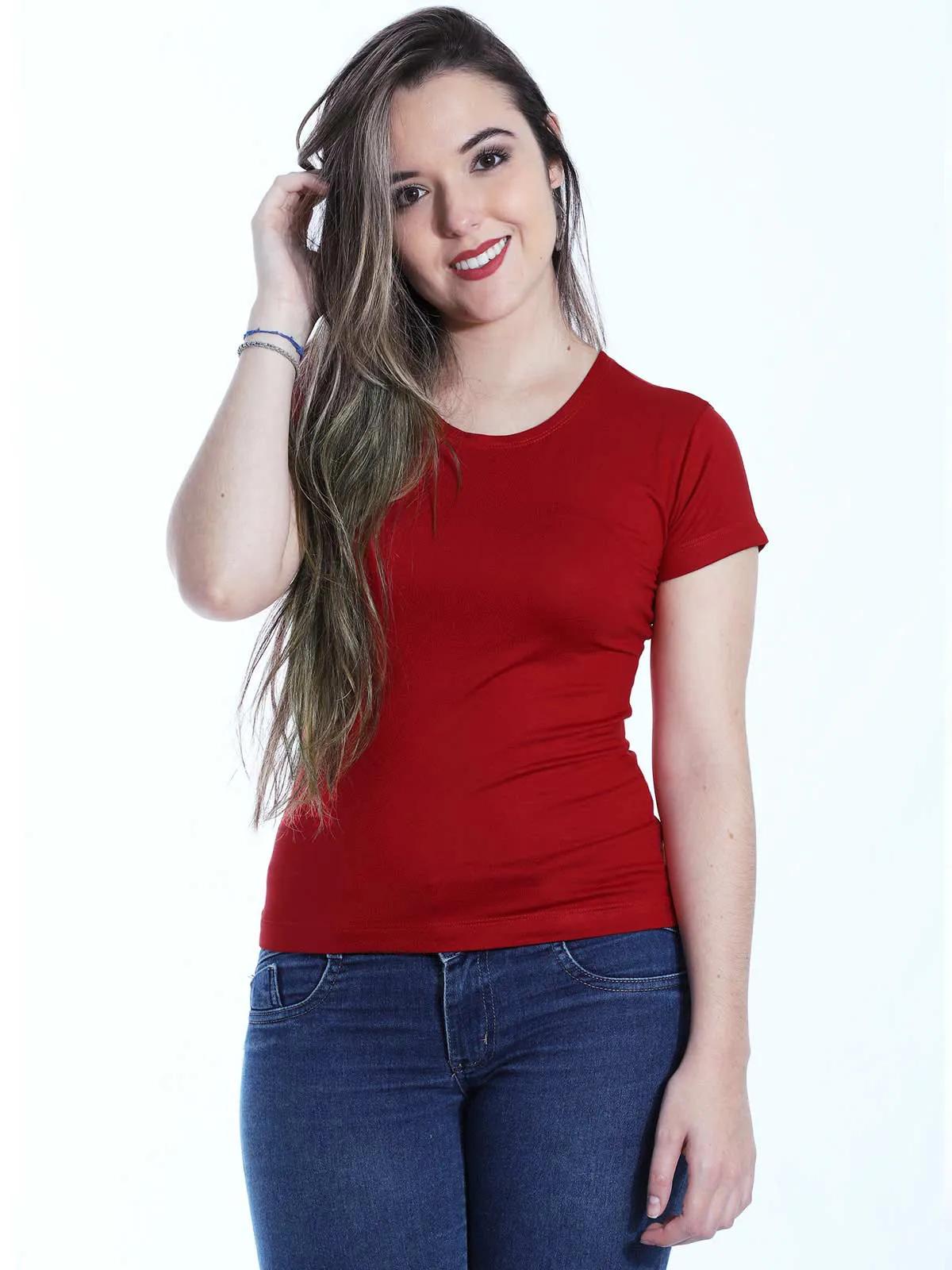Baby Look Feminina Básica Lisa Viscolycra Decote Redondo Vermelho