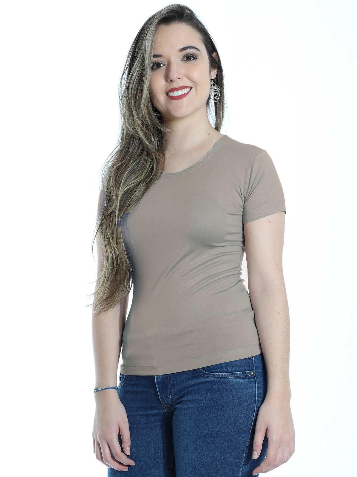 Baby Look Feminina Lisa Básica Visco Decote Redondo Areia