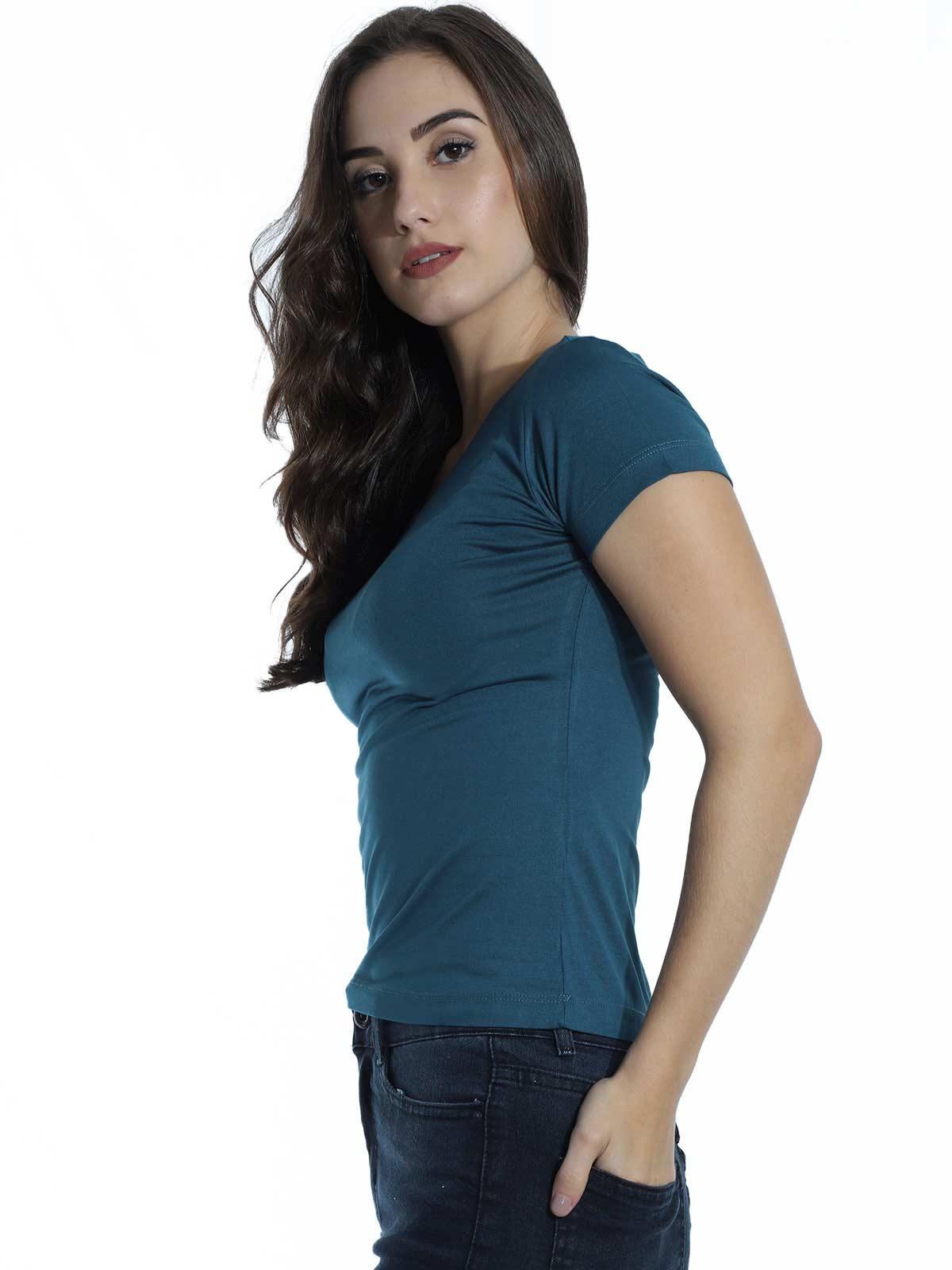 Baby Look Feminina Lisa Básica Visco Decote Redondo Azul Jeans
