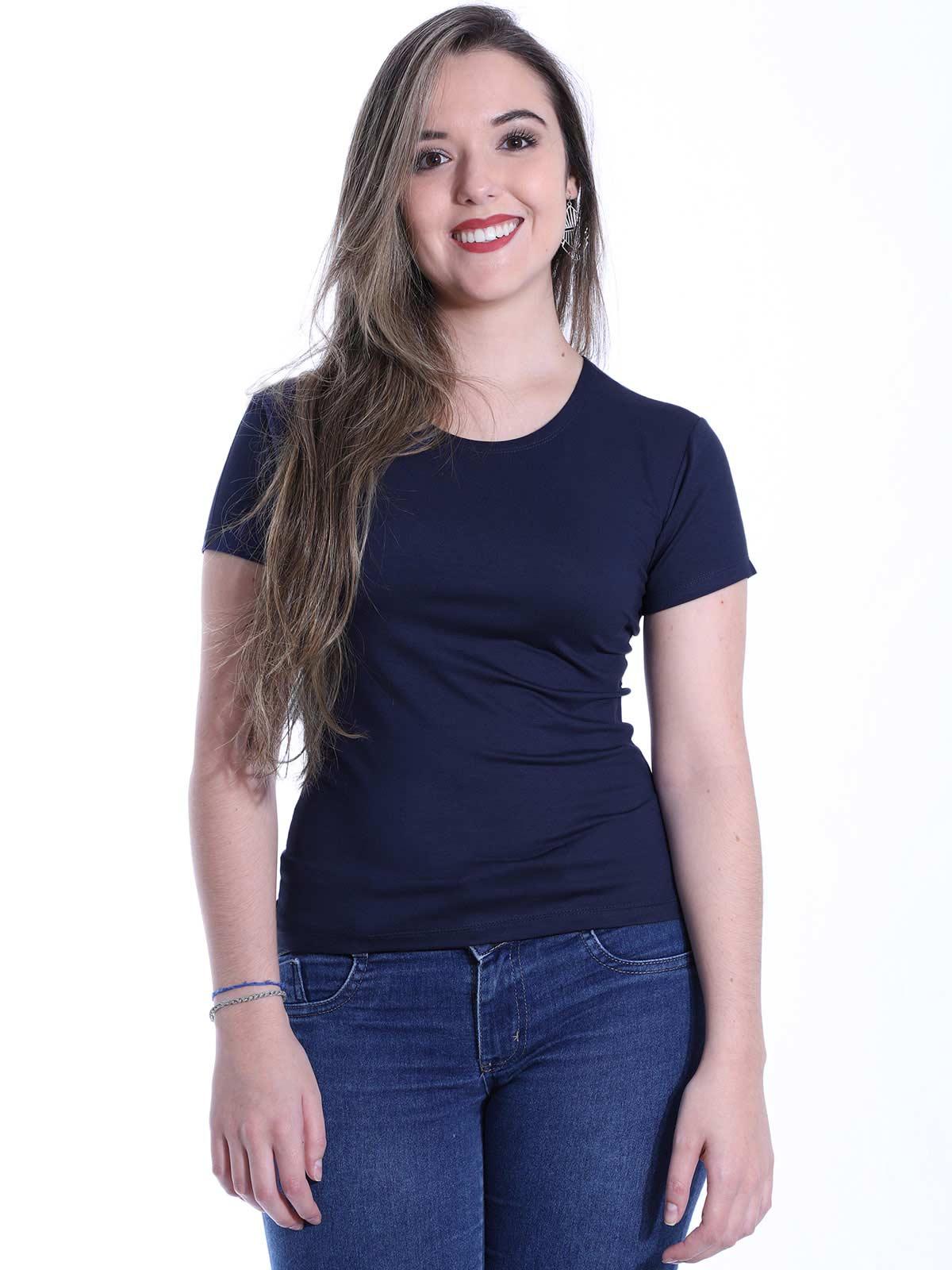 Baby Look Feminina Lisa Básica Visco Decote Redondo Marinho