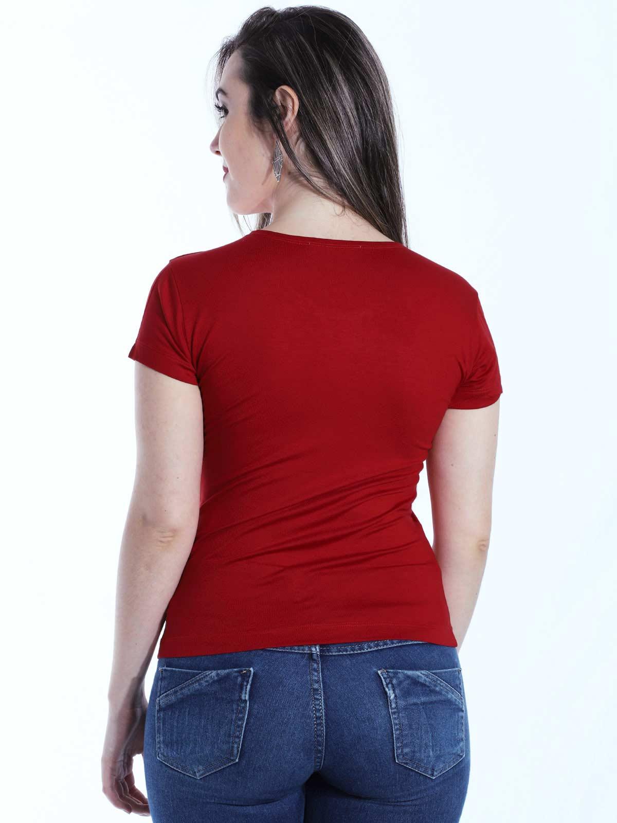 Baby Look Feminina Lisa Básica Visco Decote Redondo Vermelho
